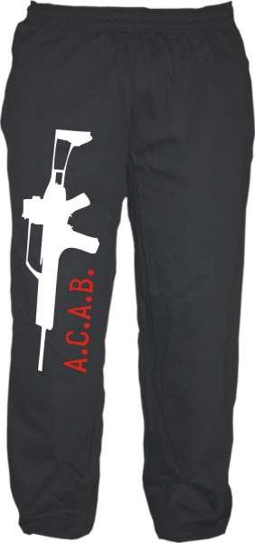 Jogginghose - ACAB mit Gewehr - Schwarz Weiss Rot