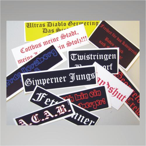 100 Aufkleber / Sticker 6x6 cm mit Wunschtext