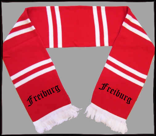 FREIBURG Balkenschal + rot/weiss + schwarz bestickt