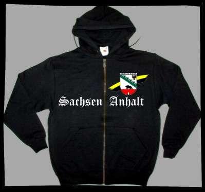 Bundesland: SACHSEN-ANHALT Kapuzenjacke + schwarz mit Wappen
