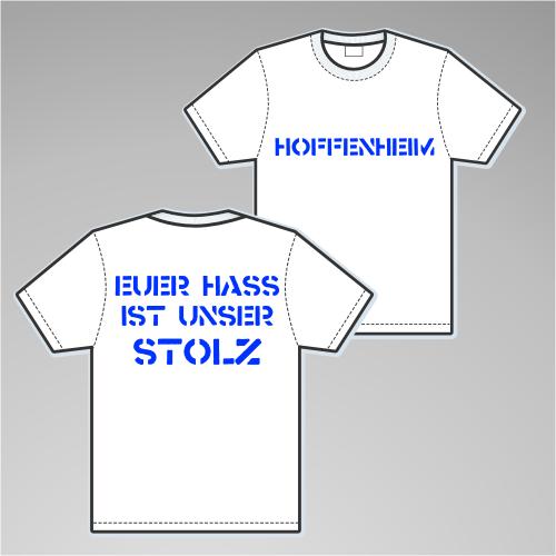 HOFFENHEIM T-Shirt + EUER HASS + weiss/blau