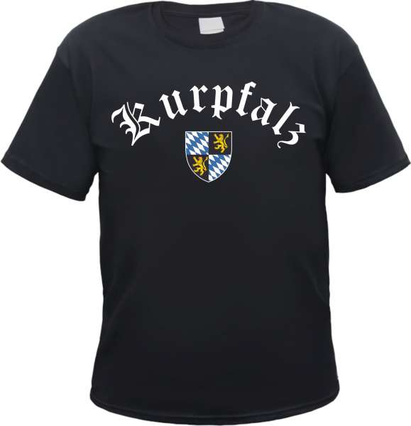 KURPFALZ T-Shirt - Altdeutsch mit Wappen - Schwarz - pfalz bayern rhein odenwald