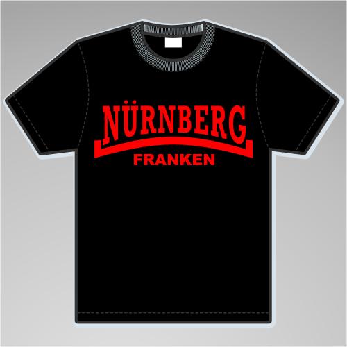NÜRNBERG Franken T-Shirt + Linie + schwarz/rot