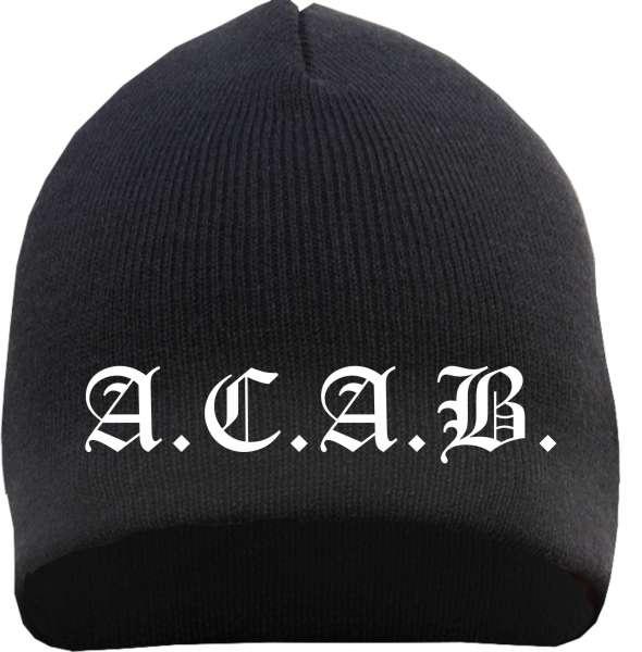 A.C.A.B. Strickmütze / Beanie ACAB +++ schwarz/weiss