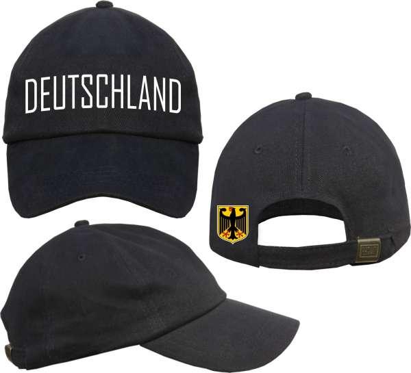 Deutschland Cap - Blockschrift mit Wappen - Schwarz