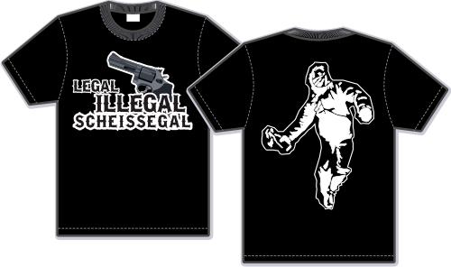 Legal illegal scheissegal T-Shirt - Revolver - Schwarz