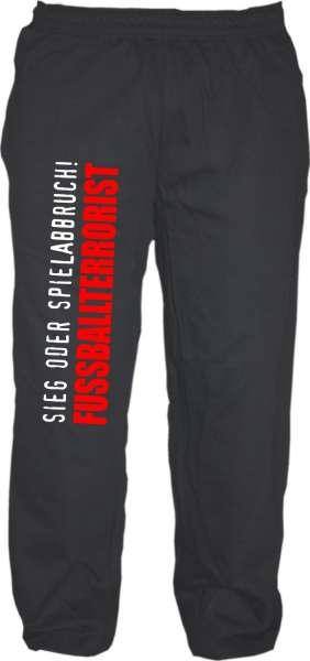 Jogginghose - SOS Fussballterrorist - Schwarz/Weiss/Rot