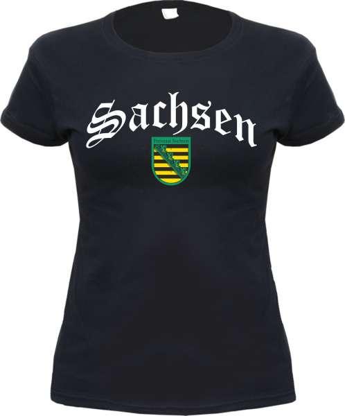 Bundesland: SACHSEN Mädels-Shirt + schwarz mit Wappen