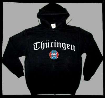 Bundesland: THÜRINGEN Sweatshirt + schwarz mit Wappen