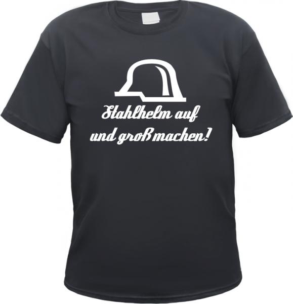 Stahlhelm auf T-Shirt - Schwarz