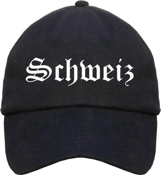 Schweiz Cap - Altdeutsch - Schwarze Schirmmütze