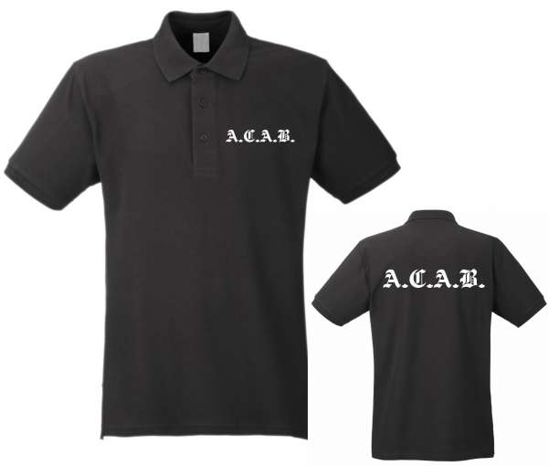 A.C.A.B. Poloshirt + Altdeutsch Druck + schwarz/weiss