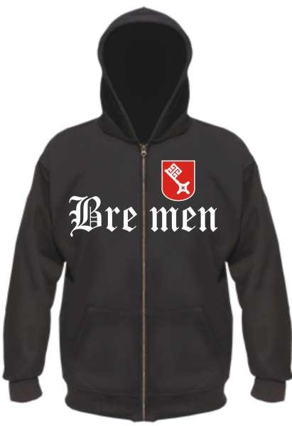 BREMEN Kapuzen-Jacke mit Wappen + Altdeutsch + schwarz