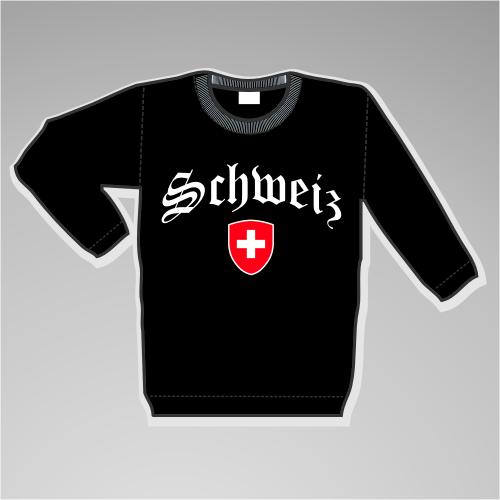 Schweiz Sweatshirt mit Wappen +++ schwarz