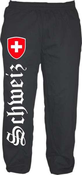Schweiz Jogginghose - Altdeutsch mit Wappen - Schwarz