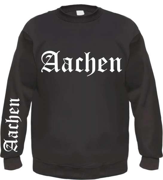 AACHEN Sweatshirt + Altdeutsch Front/Ärmel + schwarz