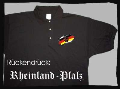 Bundesland: RHEINLAND-PFALZ Poloshirt + schwarz mit Wappen