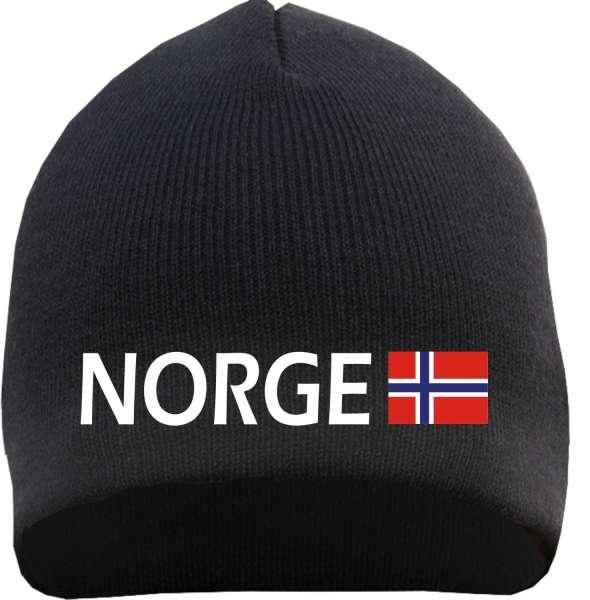 NORGE / NORWEGEN Beanie Mütze + schwarz + bestickt