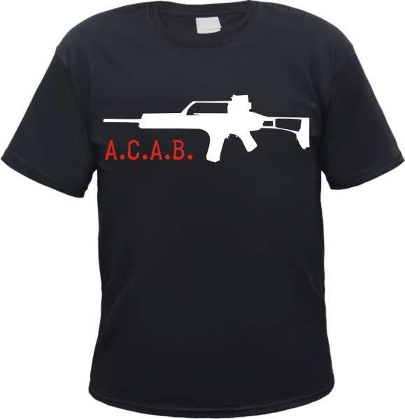 A.C.A.B. Gewehr T-Shirt +++ schwarz/weiss-rot