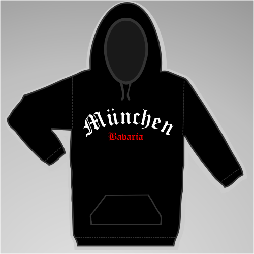 MÜNCHEN Sweatshirt + Halbkreis + schwarz/weiss-rot