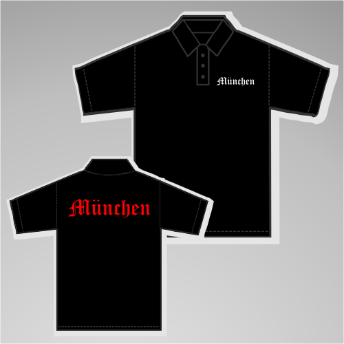 MÜNCHEN Poloshirt + Altdeutsch gedruckt + schwarz