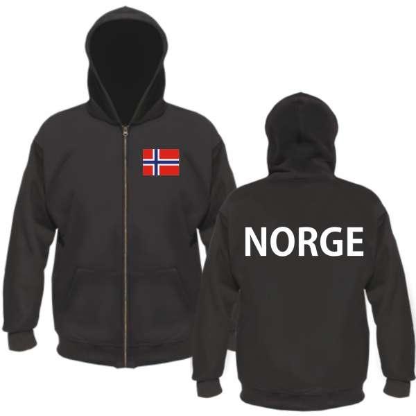 Norge Kapuzenjacke - Mit Flagge Druck - Schwarz - Norwegen