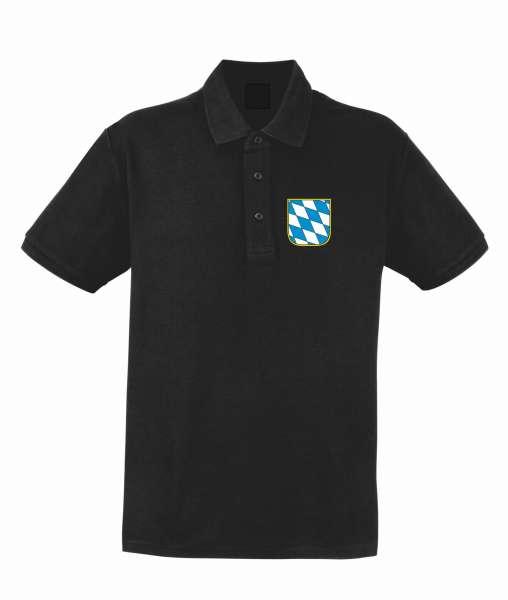 Bundesland: BAYERN Poloshirt + schwarz mit Wappen