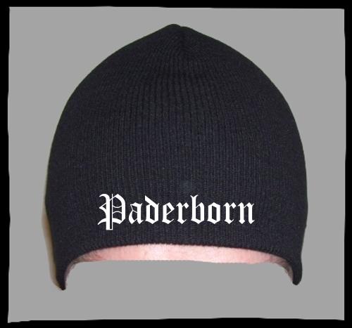 PADERBORN Beanie / Strickmütze + schwarz + bestickt