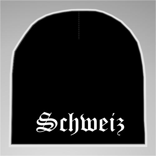Schweiz Strickmütze / Beanie +++ schwarz/weiss