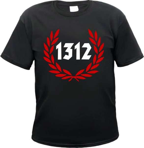 1312 T-Shirt - Grosser Lorbeerkranz - Schwarz