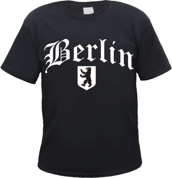 BERLIN T-Shirt + Altdeutsch mit Wappen + Schwarz