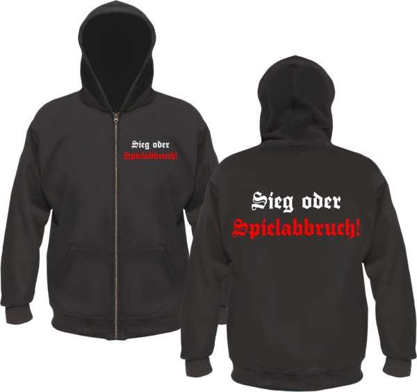 Sieg oder Spielabbruch Kapuzenjacke - Altdeutsch - Schwarz Weiss Rot