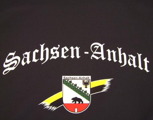 Bundesland: SACHSEN-ANHALT T-Shirt + schwarz mit Wappen