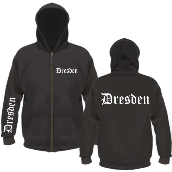 "DRESDEN Kapuzen-Jacke ""FÄN"" + Altdeutsch + schwarz"