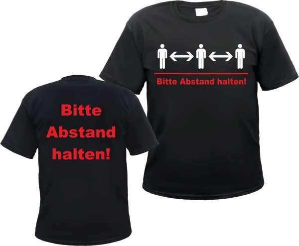 Bitte Abstand halten T-Shirt - Schwarz