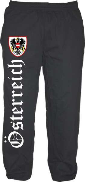 Österreich Jogginghose - Altdeutsch mit Wappen - Schwarz
