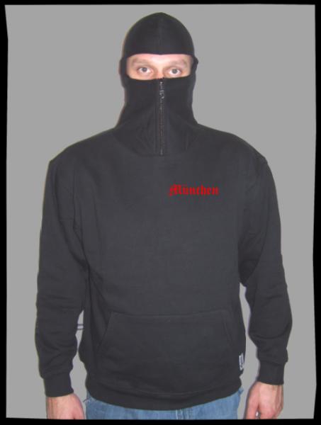 MÜNCHEN Ninja Hoodie + bestickt + schwarz